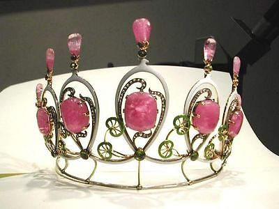 Victorian Estate 12.67 Ct Rose Cut Diamond & Ruby sterling Sliver Princes Tiara