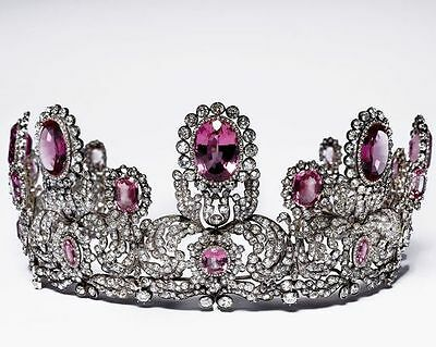 Victorian Estate 17.67 Ct Rose Cut Diamond & Ruby sterling Sliver Princes Tiara