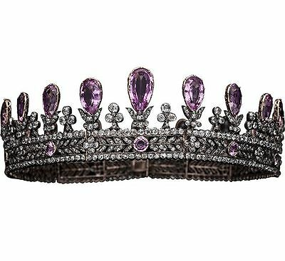 Victorian Estate 16.72 Ct Rose Cut Diamond & Amethyst 925 Sterling Sliver Tiara