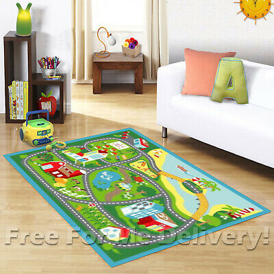 KIDS EXPRESS BEACHSIDE ROADS CARS FUN FLOOR RUG (XS) 100x150cm **FREE DELIVERY**