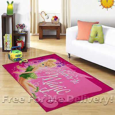 KIDS EXPRESS TINKERBELL FAIRY PINK FLOOR RUG (XS) 100x150cm **FREE DELIVERY**