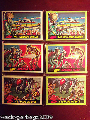2012 Topps Heritage MARS ATTACKS White GREEN Master Set 3-D Deleted New Universe