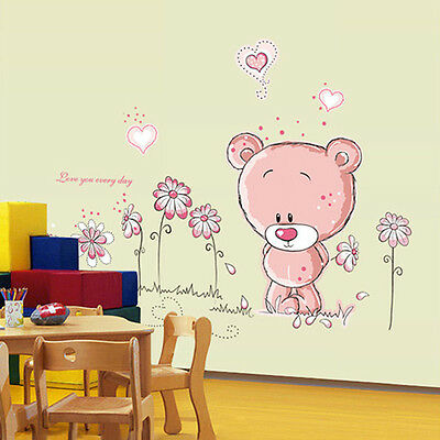 Cute Lovely Pink Bear Nursery Girl Baby Kids Children Art Decal Wall Sticker