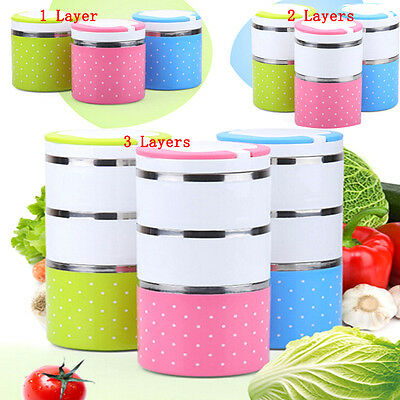 1-3 Layer Stainless Steel Insulation Thermo Thermal Lunch Box Food Container GH