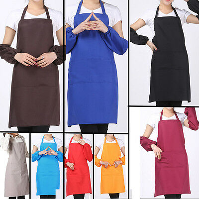 2016 Hot Plain Apron With Front Pocket For Chefs Butchers Kitchen Cooking Craft
