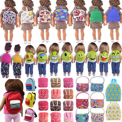 Canvas Bag Backpack Schoolbag for American Girl Doll Of 18 Inch Doll Accessories