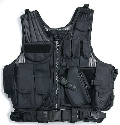 Usmc Tactical Military Airsoft Paintball Hunting Combat Vest With Holster Pouch