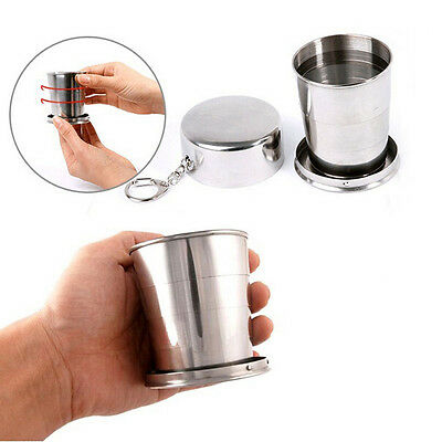 L/M/S Stainless Steel Portable Outdoor Travel Folding Collapsible Cup Telescopic
