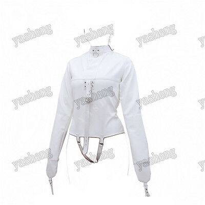 Women's Straitjacket PU Leather Strict Bondage Kinky Straight Jacket Kinky White