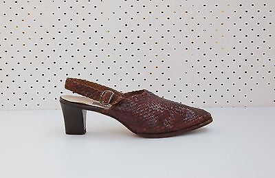 Size 8 Vintage Ladies Brown Bally Ladies Woven Pumps Sandals France