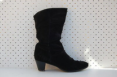 Size 7 Vintage Ladies Black 80s Suede leather winter high boots