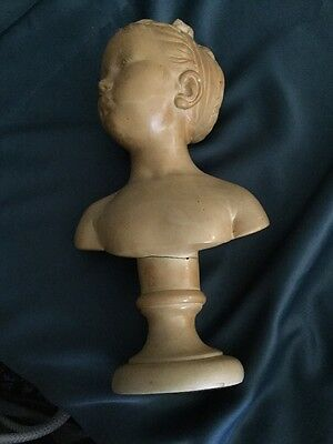 """Signed Houdon French? Sculpture Female Bust Classic Statue """""""