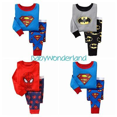 Boys Superman Batman Spiderman Long Sleeves Pyjamas Sleepwear Set Size 0-6Years