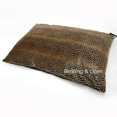 Faux Skin Reptile Effect Large Gold Dog Pet Bed Zipped Cover + Optional Pillow