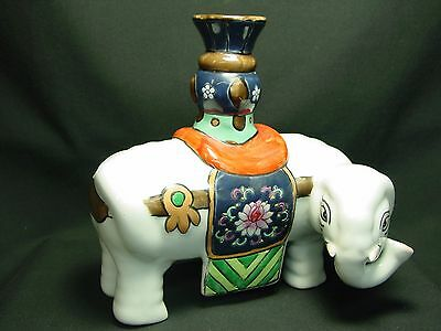 Vtg Ceramic Elephant Tea Pot Pitcher White Hand Painted Watering Can Tusk Chip