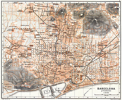 Barcelona historical map from 1899 (Wagner & Debes) Vintage Print Poster