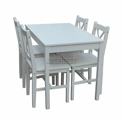 FoxHunter Solid Wooden Dining Table With 4 Chairs Set Kitchen Furniture white
