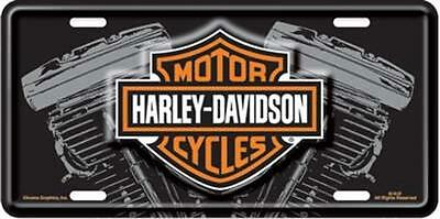 Harley Davidson Bar & Shield  Embossed V-Twin Vanity Car License Plate Auto Tag