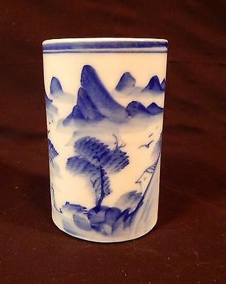 Hand Painted Blue and White Chinese Brush Pot 5 x 3 inches