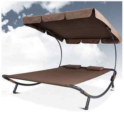 Double Sun Lounger With Canopy Patio Pool Outdoor Furniture Garden Bed - Brown