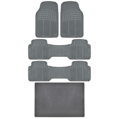 Gray Rubber Mat 5pc Car SUV Heavy Duty All Weather Mats Liner BPA FREE
