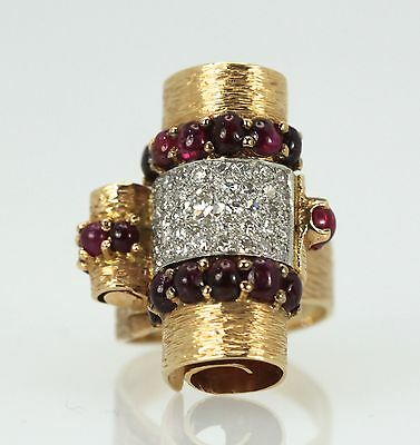 Awesome Deco Retro 1930'S Ruby Cabochon 14K And Platinum Diamond Ring 4.49 Tcw
