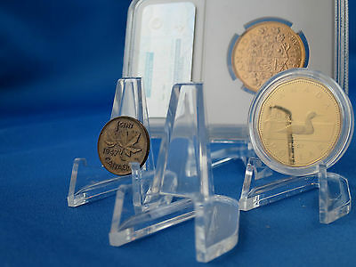 10 X Clear Display Easel for Coins or Slabs