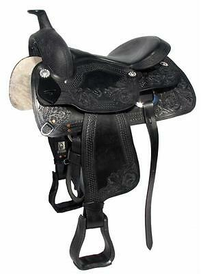 """Black """"Scout"""" Leather Western Saddle  17"""" Seat, 6.5"""" Gullet"""