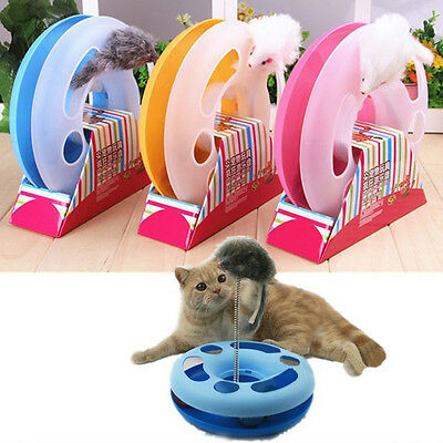 Cat Funny Toy Moving Mouse Spring Mice Ball Turntable Circle Disk Training Toy