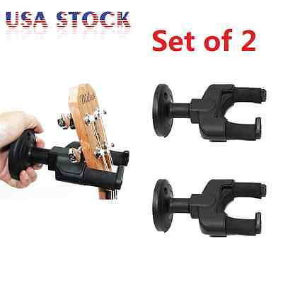 2x Guitar Wall Mount Hanger Holder Bracket Stands For Guitar Bass Ukulele Banjos