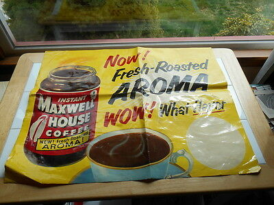 RARE Vintage 1950s 1960s MAXWELL HOUSE INSTANT COFFEE Store Display Poster Sign