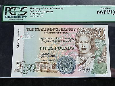 Guernsey 50 Pounds P59 Signed Trestain Issued 1994 PCGS Gem New 66 PPQ UNC