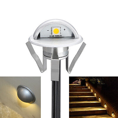 6/10x35mm 12V LED Decking Step Lights Half Moon Outdoor Garden Stair Lamp Kit