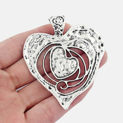 2 Large Antique Silver Open Hammered Heart Charms Pendants For Jewellery Making