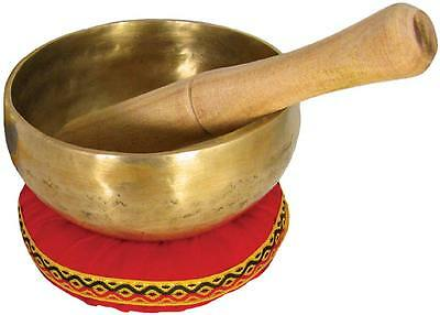 "Atlas 5"" BRASS SINGING BOWL with stick & cushion. Indian-made. From Hobgoblin"