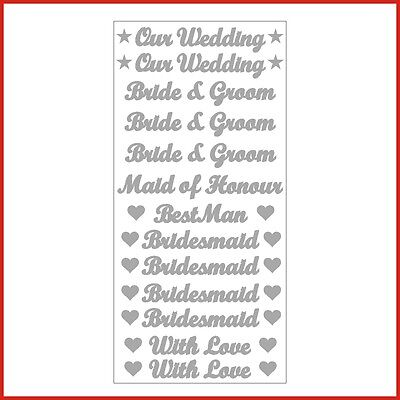 Our Wedding Bride Groom Words Vinyl Stickers Letters colour or etch for glasses