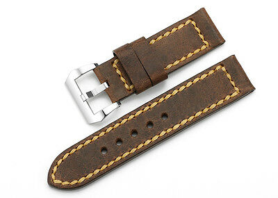 24mm Vintage Genuine Leather Watch Band Steel Tang Buckle Strap For PANERAI Mens