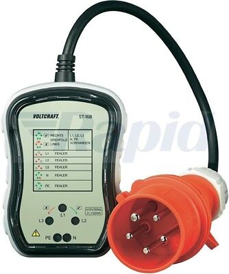 Voltcraft ST-16B 3 Phase Socket Tester 16A for CEE Power Sockets