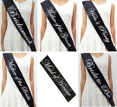 Black Sash - Hens Night Party Satin Sashes Bride Bridesmaid Maid of Honour - S02
