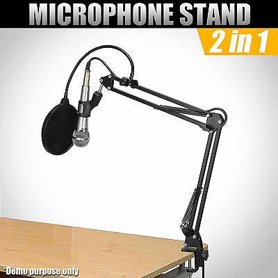 Adjustable Microphone Mic Suspension Boom Scissor Arm Stand Desktop Mount Holder