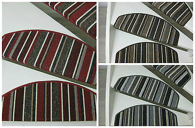 Carpet stair pads/treads Niamey Red, Grey and Brown 65x24x4cm