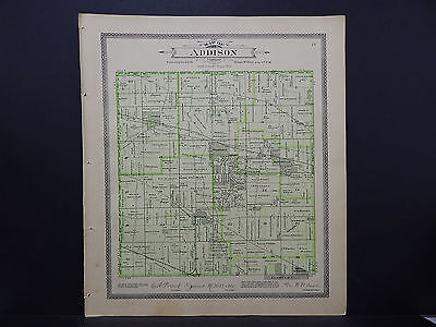 Illinois Du Page County Map c 1904 Addison Township, Cities of Istasca, Wooddale