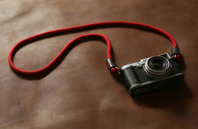Windmup 8mm red climbing rope black leather Handmade camera strap