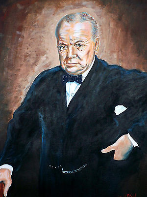 "Sir Winston Churchill by David Putland - Acrylic  30"" x 22"" -  Bockingford 180lb"