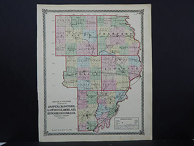 Illinois, Antique Map, 1872 Counties of Jasper, Crawford, Lawrence, Wabash M9#55