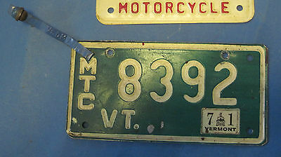 1971 Vermont motorcycle license plate with attachment