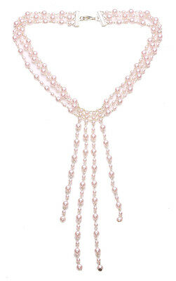 Alluring & Dreamy Blush Pink Fringed Pendant & Pearl Choker Necklace.(Zx131)