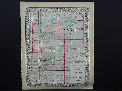 Illinois Antique Map, 1869 Counties of Fayette, Effingham, & Marion M9#79