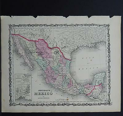 Antique Map Johnson's 1862, Single Page,  Mexico M10#03