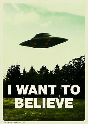 """THE X-FILES TV Show Silk Fabric Poster """"I Want to Believe"""" Mulders Office"""
